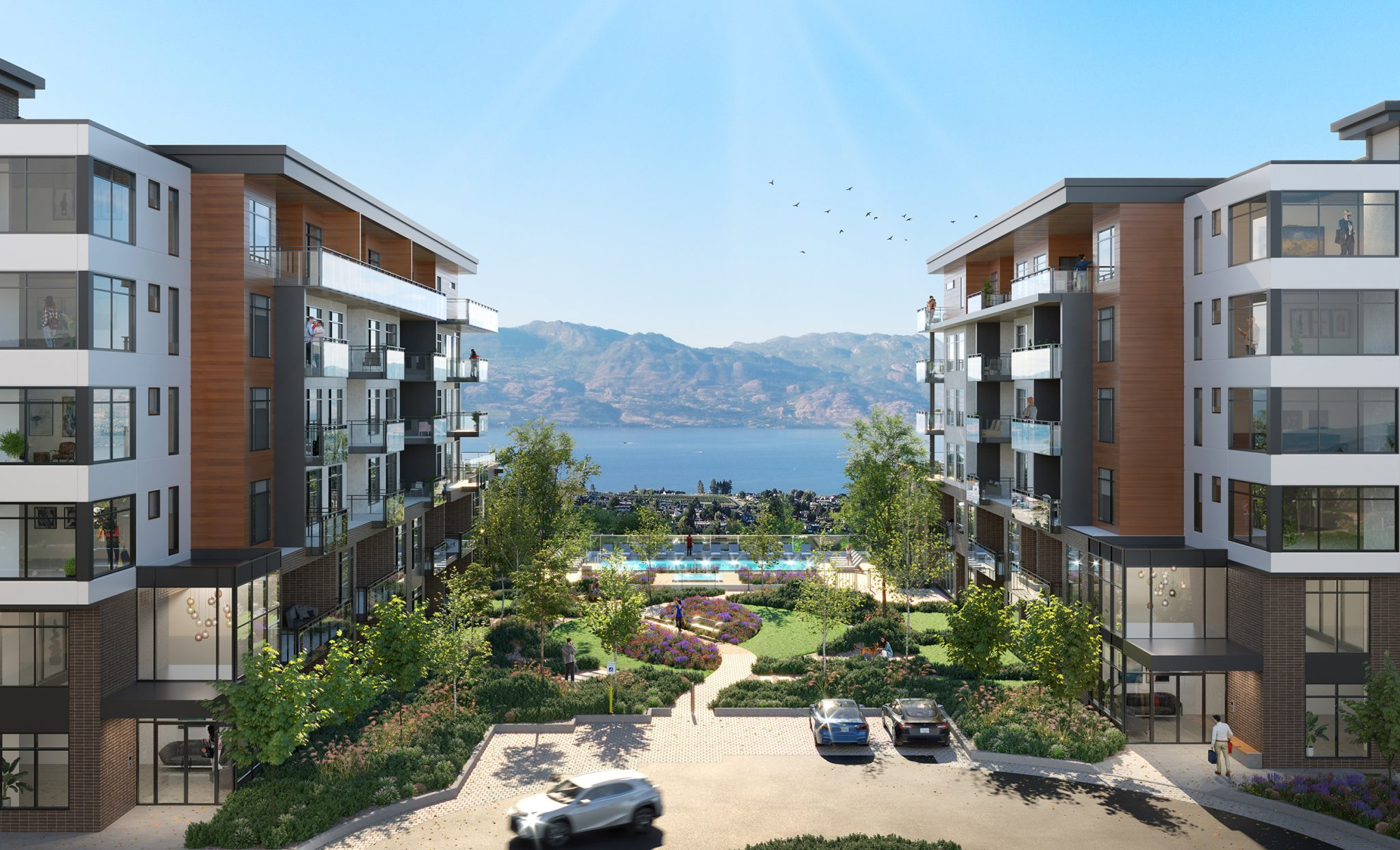 Lakeview Village Residences has become the new urban heart of this community, offering the quintessential Okanagan lifestyle mix of outdoor recreation, perfect location with great views, easy socializing and healthy living.